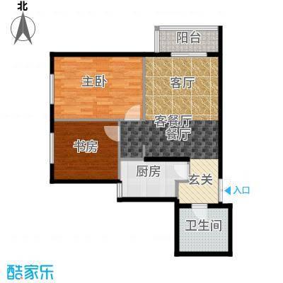 华纺易城69.44㎡三期F2户型2室1厅1卫1厨