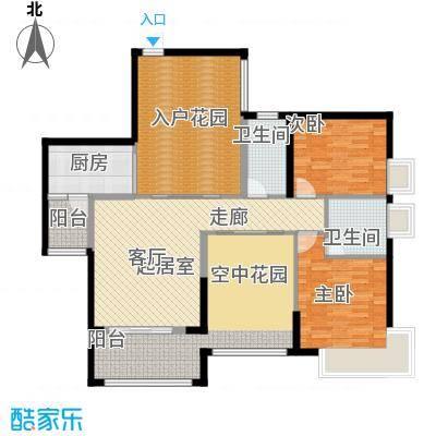 泊岸君庭121.20㎡6栋01单位户型2室2卫1厨