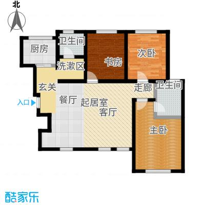 听涛苑120.00㎡B2/B3户型 三室两厅两卫户型3室2厅2卫