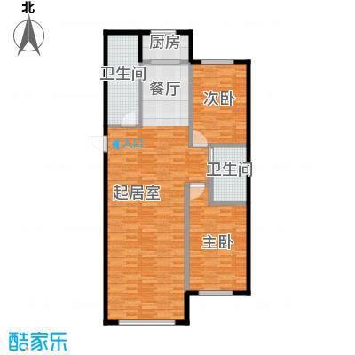 御景名家121.00㎡H户型2室2厅2卫