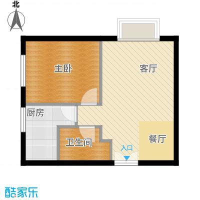 华纺易城45.31㎡华纺-易城12号楼A2户型1室1厅1卫1厨