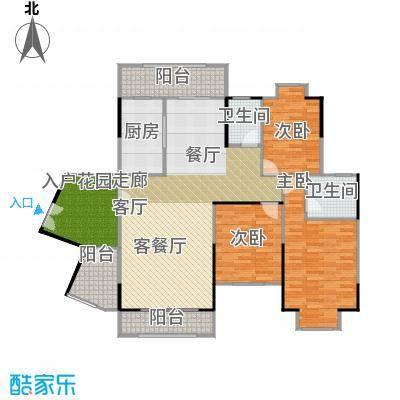 信基城148.51㎡B1+工人房+超大入户花园+四阳台户型3室1厅2卫1厨