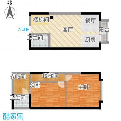 唐延公馆49.89㎡H户型2室1厅2卫