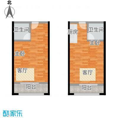 花漾年华36.00㎡A一阳台户型2室2卫