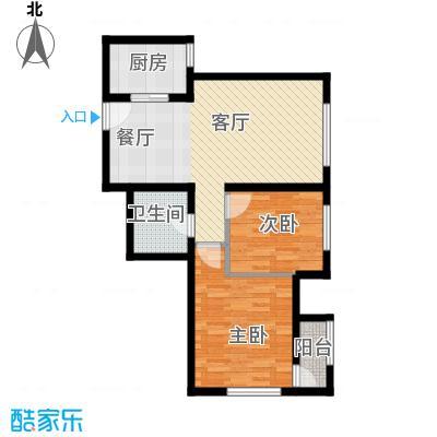 亿城堂庭88.00㎡G户型2室1厅1卫1厨