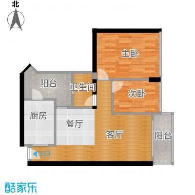 广州雅居乐花园57.45㎡时光九篇A型2栋208户型2室1厅1卫1厨