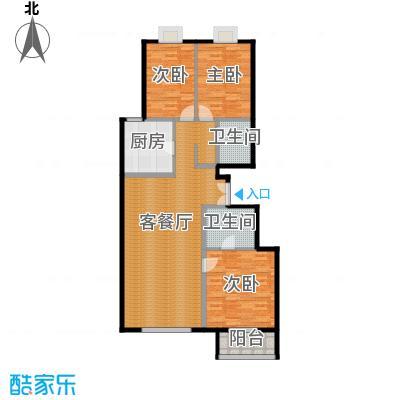 华纺易城138.34㎡E1户型3室1厅2卫1厨