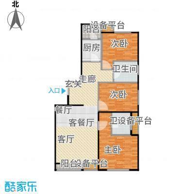 弘泽鉴筑113.66㎡光景居户型3室2厅2卫