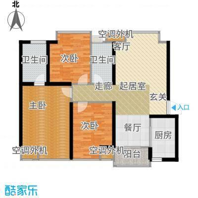 曲江紫汀苑124.00㎡2号楼 D户型 3室2厅2卫1厨户型