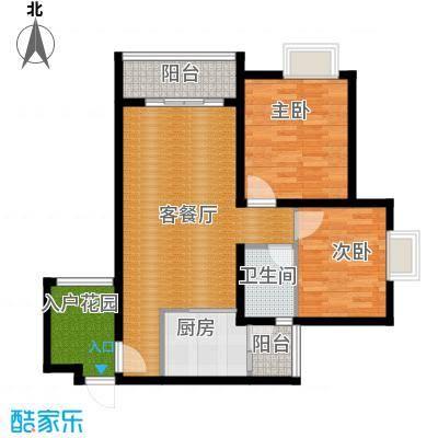 恒通御景天都79.75㎡1号楼4号房户型2室1厅1卫1厨