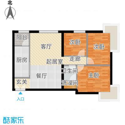 北京华贸城91.30㎡26号楼1-01户型3室1卫1厨