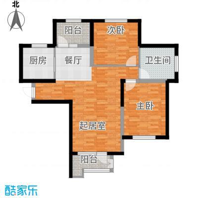泽天下103.00㎡二期13、17号楼标准层E2户型2室2厅1卫