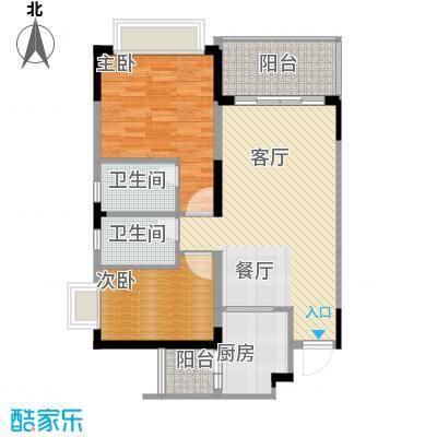 恒大城61.00㎡小高层3号房户型2室1厅2卫1厨