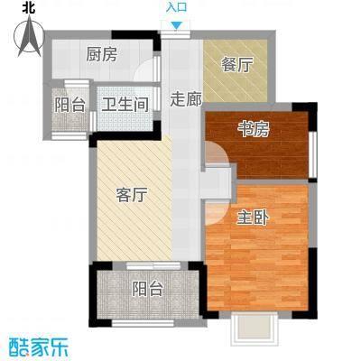 秦水名邸77.00㎡A2户型2室1卫1厨