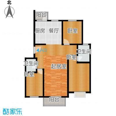 港东未来城122.37㎡B1户型3室2厅2卫