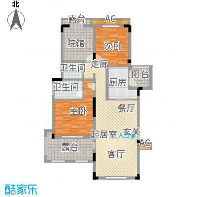 金科天湖小镇114.00㎡39号D1户型 两室两厅双卫 赠送面积17平米户型2室2厅2卫