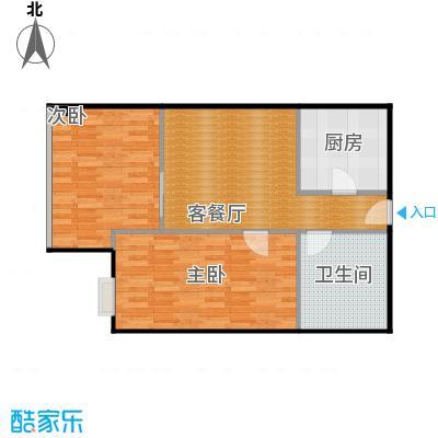 昆仑中心80.00㎡一期一号楼标准层户型2室1厅1卫