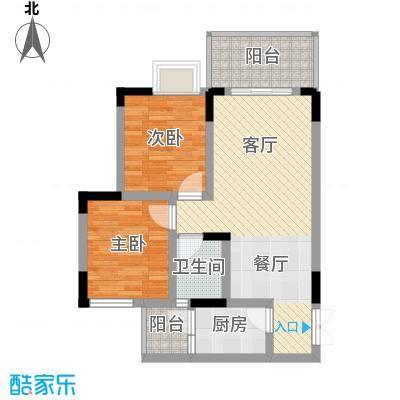 泽瑞琥珀居61.14㎡图为C2户型2室1厅1卫1厨
