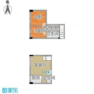 湘隆时代大公馆78.76㎡c4-4001户型2室1厅2卫1厨