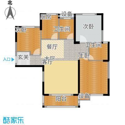 统建天成美雅122.00㎡二期2号楼E1户型3室2厅2卫