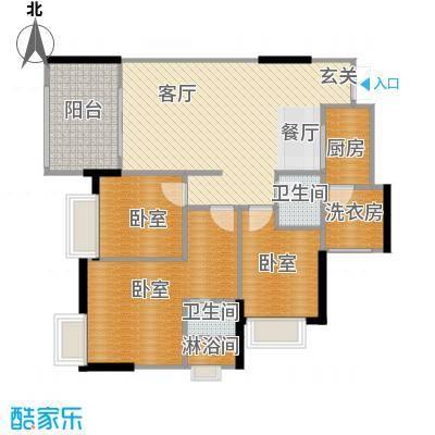 融汇温泉城锦华里97.00㎡D(7#楼)户型1厅2卫1厨