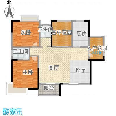 云顶翠峰118.31㎡B1户型2室1厅2卫1厨