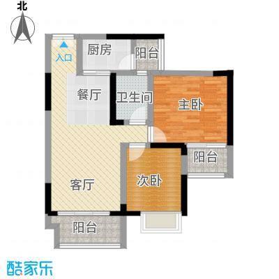 华宇春江花月71.78㎡3号楼4号房户型2室1厅1卫1厨