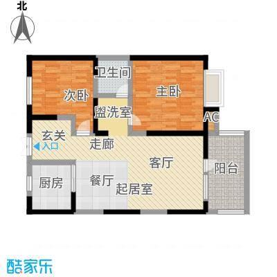 四季风情90.97㎡二室二厅一卫户型