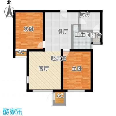 万通生态城新新家园101.00㎡高层14--15F 2室2厅1卫户型