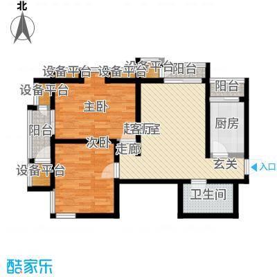 天保金海岸明珠湾90.00㎡2室1厅1卫户型