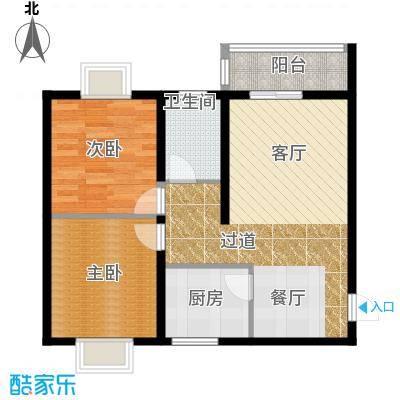 汉城湖一号84.02㎡户型2室2厅1卫