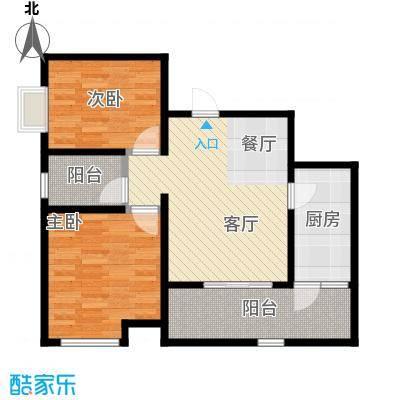 晋愉天意64.31㎡A户型2室1厅1厨