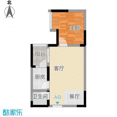 华宇秋水长天39.26㎡房型户型1室1厅1卫1厨