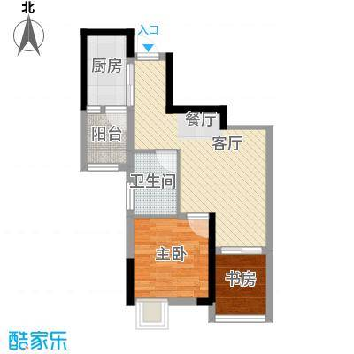 大鼎第一时间45.57㎡B区1号楼4、5号房户型2室1厅1卫1厨