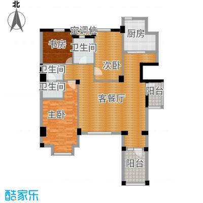 万科锦庐130.00㎡情景花园洋房二层户型3室2厅2卫