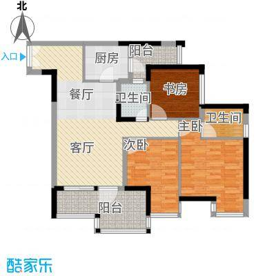 华宇金沙时代81.43㎡17号楼3号房户型3室1厅2卫1厨
