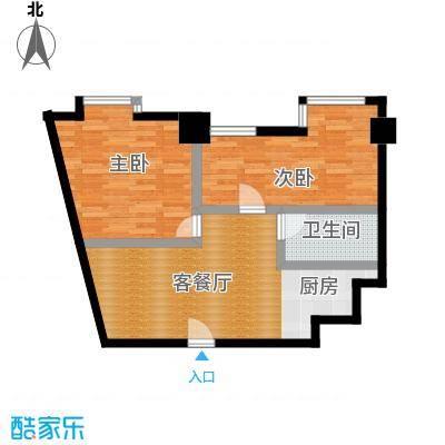 YOHO湾102.00㎡平层D4G-6户型2室1厅1卫