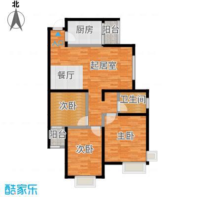 滨海智谛山104.78㎡项目一期10号楼F户型3室1厅1卫