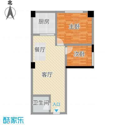 大鼎第一时间58.83㎡3号楼/第3、4层14号房户型2室1厅1卫1厨