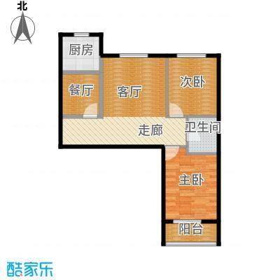 学院1号64.14㎡L-81户型2室2厅1卫