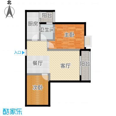 五星国色天香71.46㎡H-5户型2室1厅1卫1厨