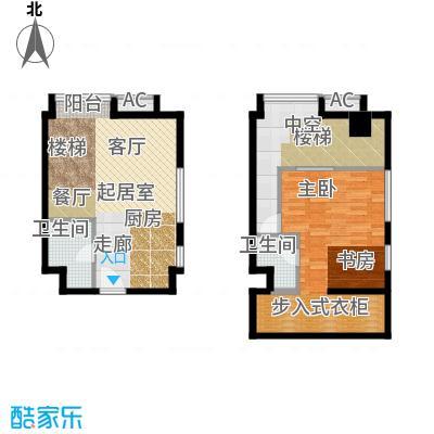 YOHO湾64.00㎡复式户型D6-4户型1室2厅1卫