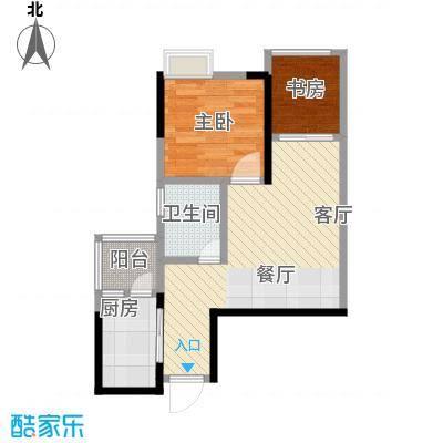 大鼎第一时间45.84㎡B区1号楼1、8号房户型2室1厅1卫1厨
