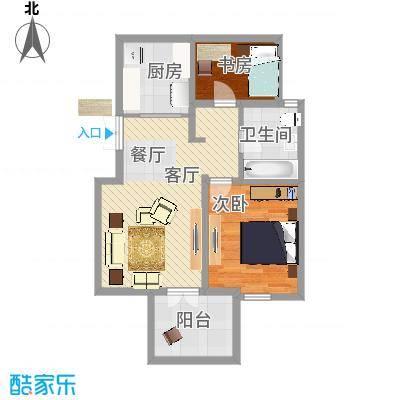 万通生态城新新家园92.30㎡二期B2b户型2室2厅1卫