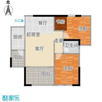 晋愉天意70.54㎡3栋B户型2室1卫1厨