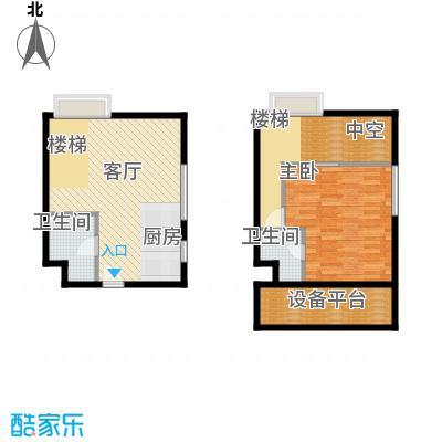 YOHO湾64.00㎡复式D6-4户型1室2厅1卫