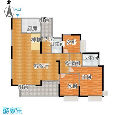 骏逸第一江岸151.99㎡跃层下户型3室1厅2卫1厨