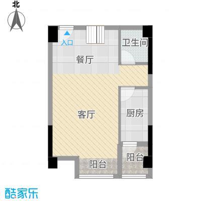 骏逸第一江岸68.57㎡复式--跃层下户型1厅1卫1厨