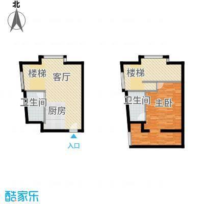 YOHO湾65.00㎡复式D4-5户型1室2厅1卫