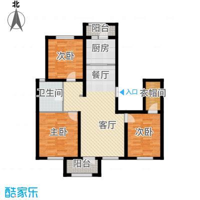 万通生态城新新家园127.26㎡二期C1户型3室2厅1卫